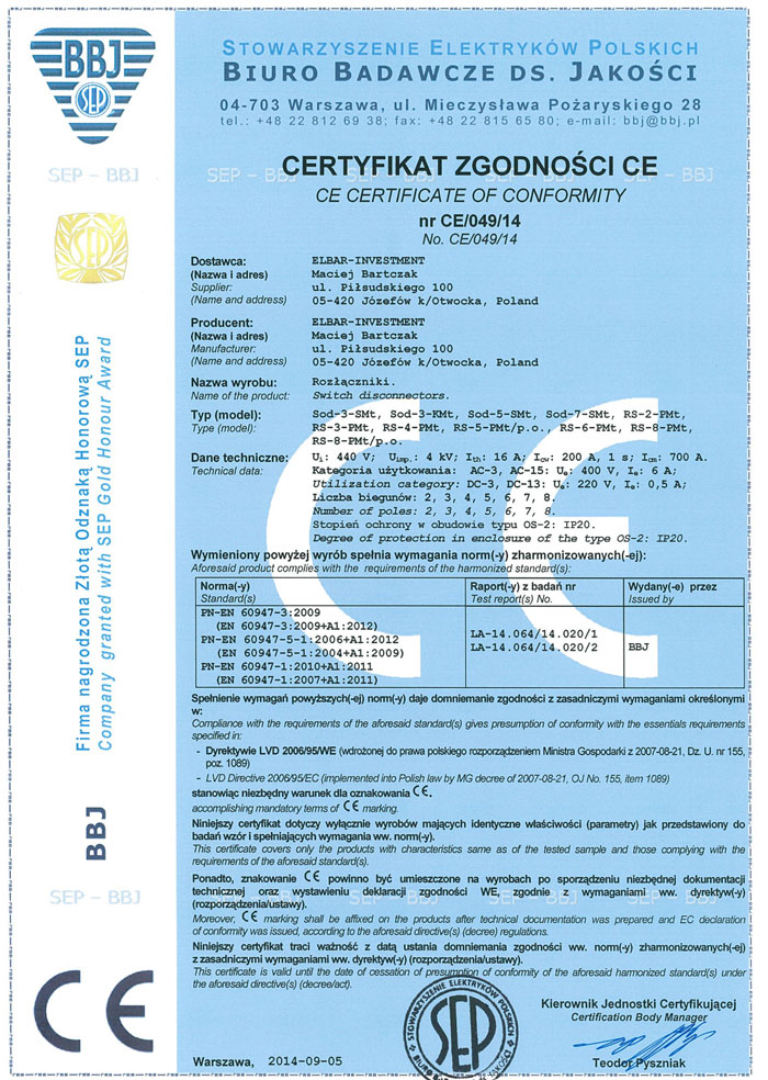 Certyfikat Bmaly